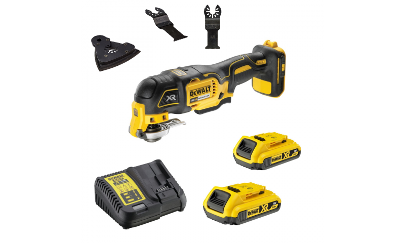 DeWalt DCS355D2 18V XR Brushless Multi-Tool with 35pc Accessory Kit, 2 x 2.0Ah Battery and Case