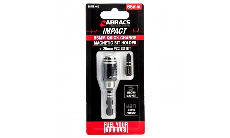 Abracs SDMBH65 Quick Change Magnetic Bit Holder + 1 x 25mm PZ2 SD Bit