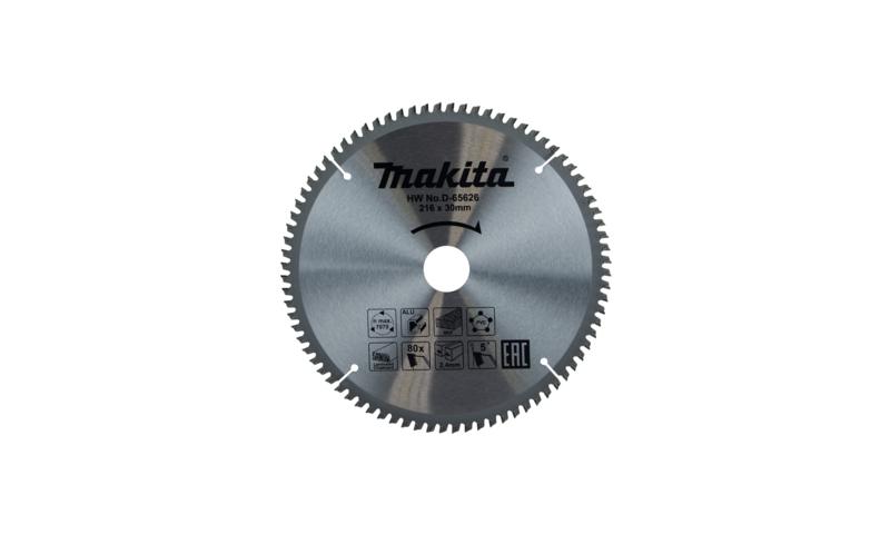 Makita TCT Multi Purpose Saw Blade 216mm x 30mm 80T (D-65626)
