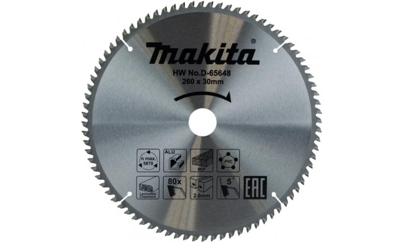 Makita Multi Purpose Tct Saw Blade 260mm x 80t x30mm (D-65648)