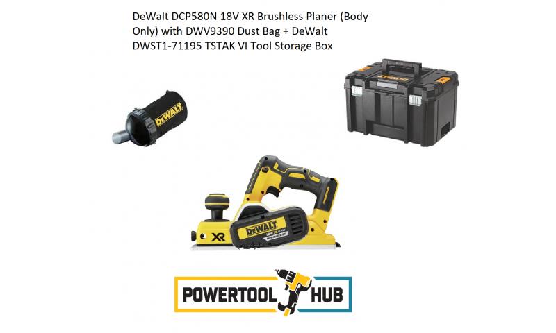DeWalt DCP580N 18V XR Brushless Planer (Body Only) with DWV9390 Dust Bag + DeWalt DWST1-71195 TSTAK VI Tool Storage Box