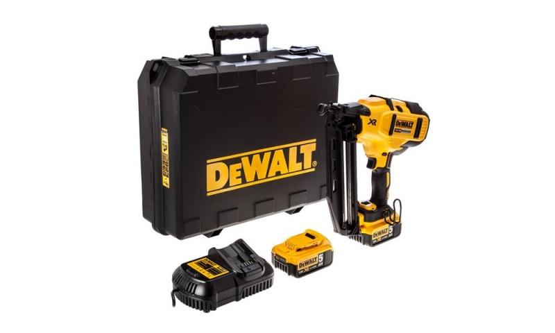 DeWalt DCN660P2 18V XR 2nd Fix Brushless Nailer Kit with 2 x 5.0Ah Batteries