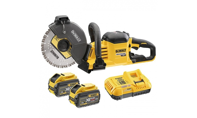 DEWALT DCS690X2 XR FlexVolt 54V 230mm Cut Off Saw & 2x 9.0Ah Batteries