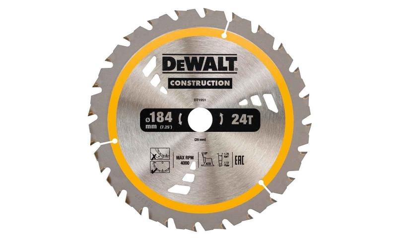 Dewalt DT1951-QZ Dewalt Construction Saw Blade 184mm x 20mm 24T
