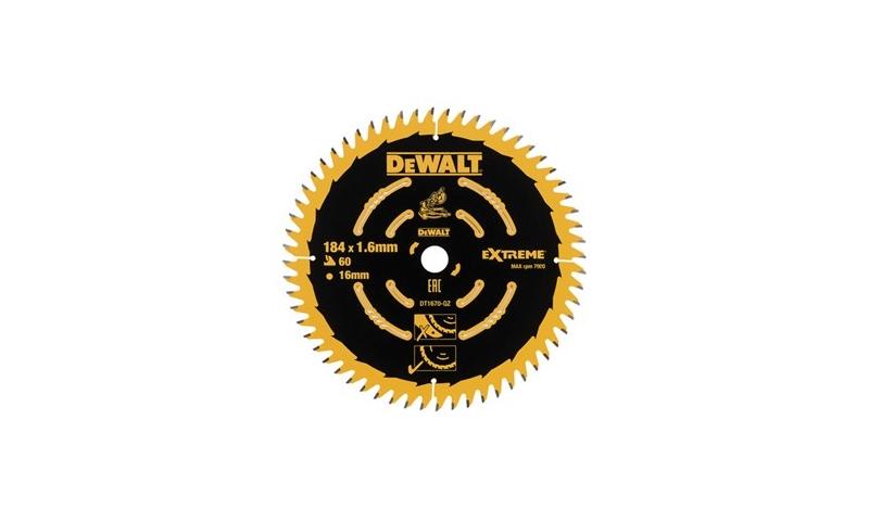 Dewalt 184mm x 16mm x 60T Trim Mitre Saw Blade (Dt1670-qz)