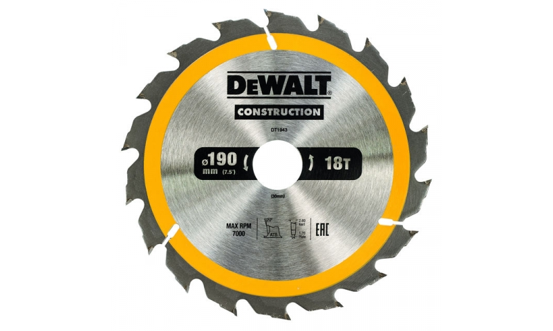 Dewalt DT1943QZ Dewalt Construction Saw Blade 190mm x 30mm 18T