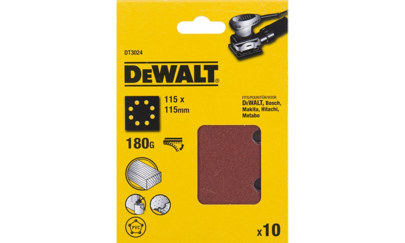 DEWALT DT3024-QZ PACK 10 1/4 SHEET 180G SANDING 115X115