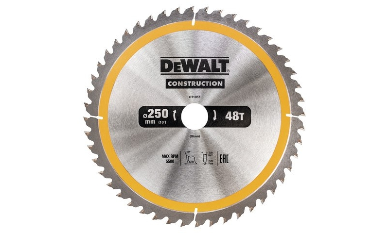 DeWalt DT1957 250x30mm 48T Construction Circular Saw Blade