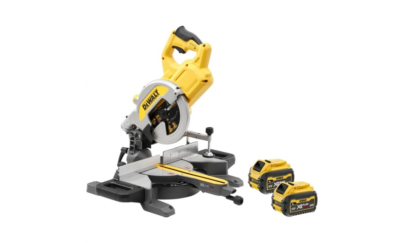 DeWalt DCS777T2 54V XR FLEXVOLT Mitre Saw with 2 x 6.0Ah Batteries and Charger